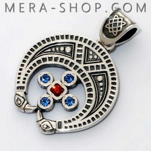 Славянский оберег Лунница со Звездой Лады кулон из серебра 925 пробы с камнями (32 х 22 мм, 5 г)
