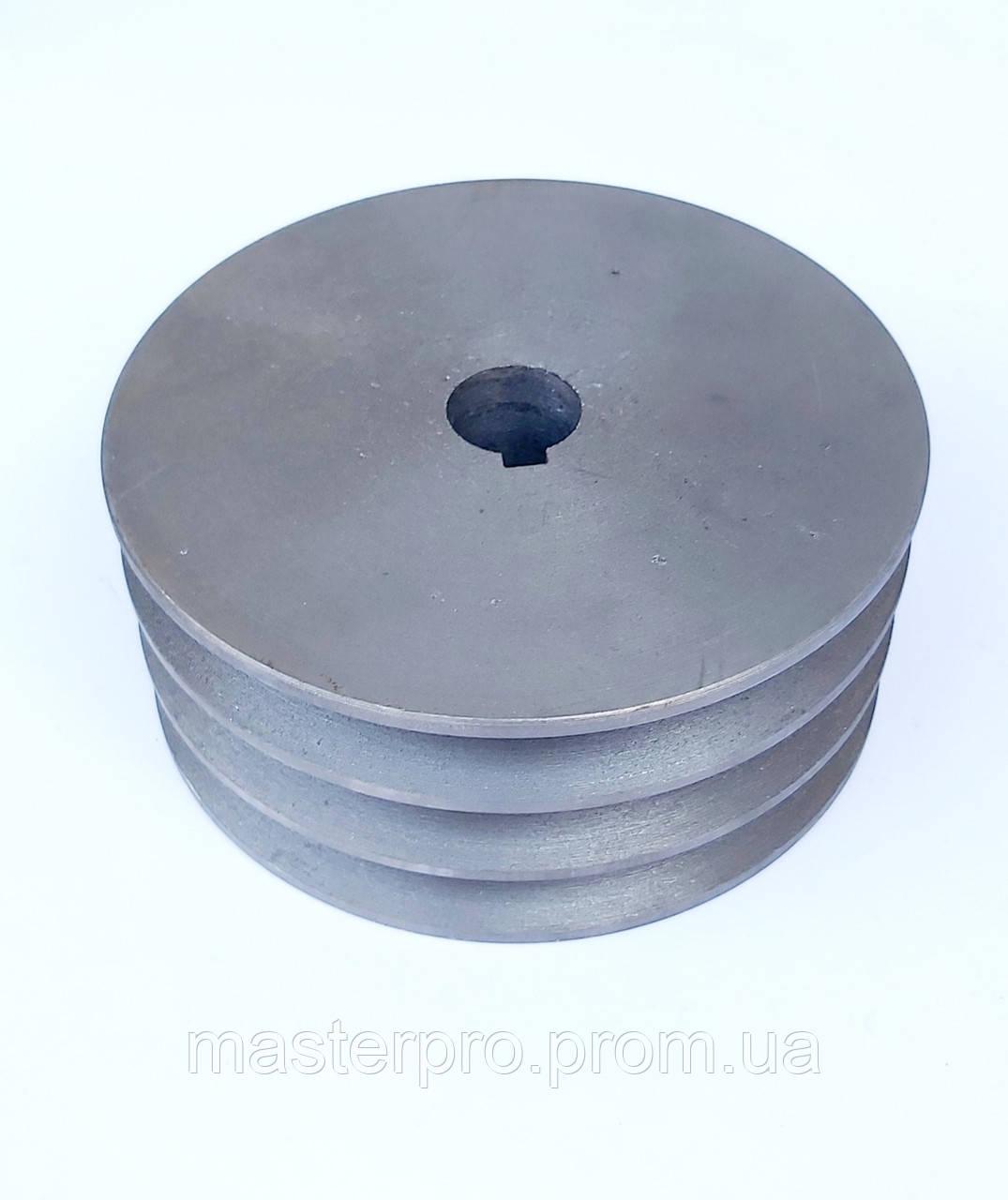 Шкив на вал 25 мм диаметр 150 мм 3 ручья профиль Б