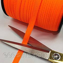 Синтетическая киперная лента 1 см ярко-оранжевая на отрез кратно 1 м. (6-БК-803)