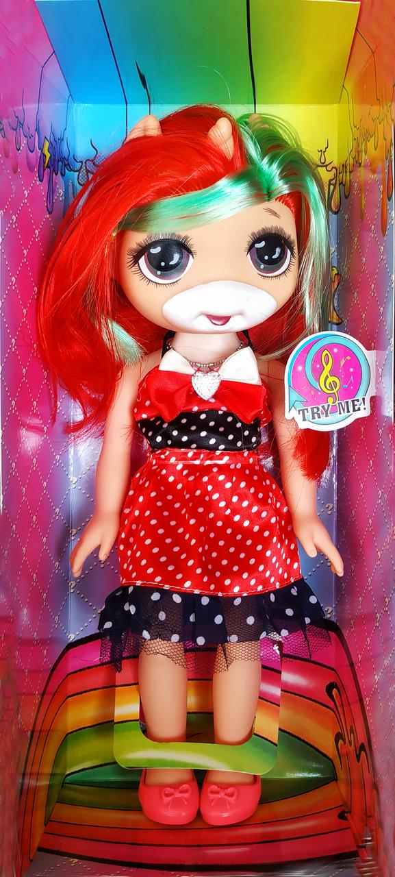 Кукла единорожка Пупси / Poopsie музыкальная 32см (красный)