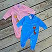Нежный яркий нарядный детский хлопковый комбинезон с принтом жирафа, удобная одежда для новорожденных, фото 2