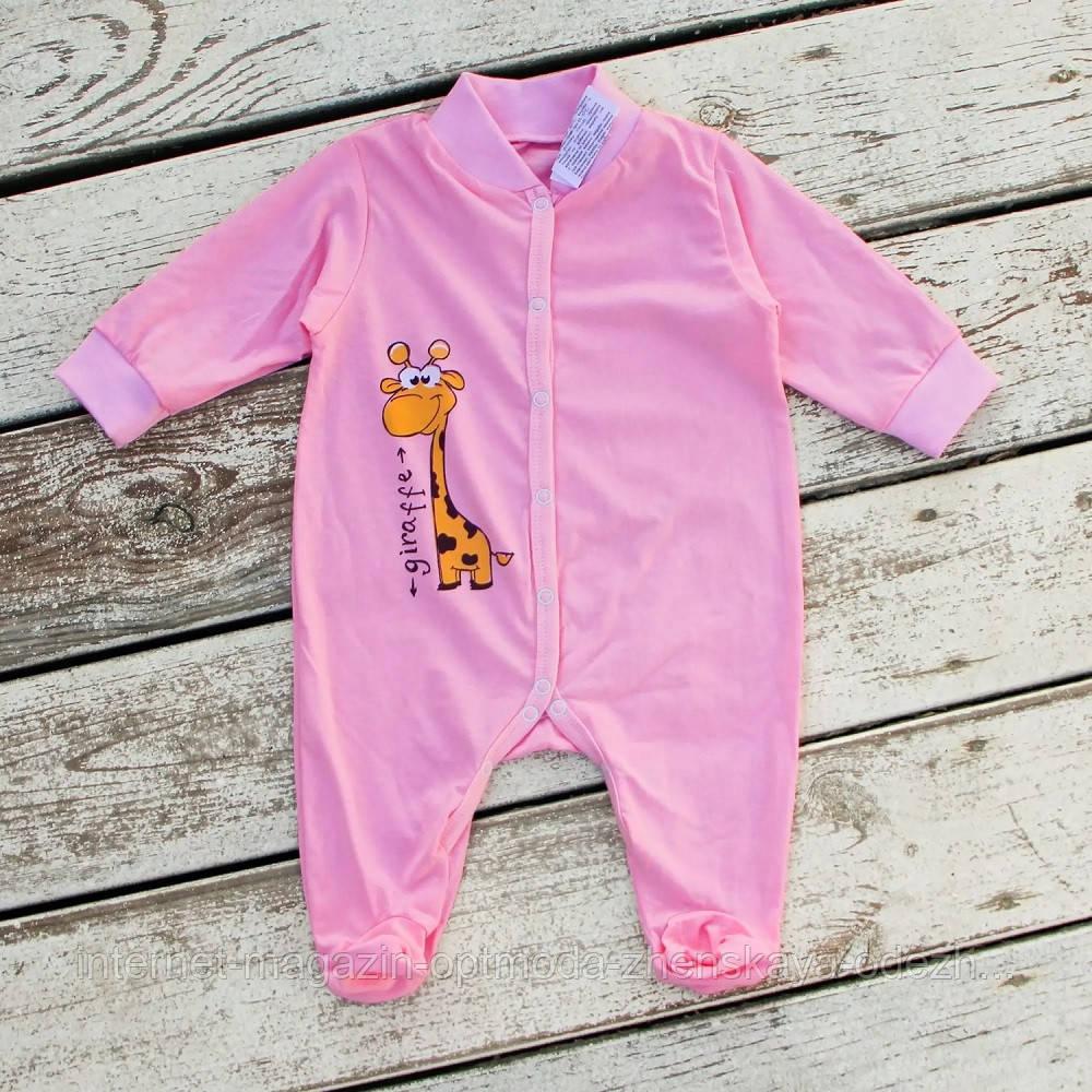Нежный яркий нарядный детский хлопковый комбинезон с принтом жирафа, удобная одежда для новорожденных