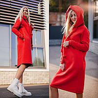 Платье теплое в красном цвете