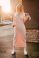 Теплое длинное платье на флисе в цвете пудра