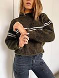 Женский вязаный свитер соты с отворотами на манжетах и горловине (р. 42-46) 404998, фото 7