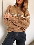 Женский вязаный свитер соты с отворотами на манжетах и горловине (р. 42-46) 404998, фото 8