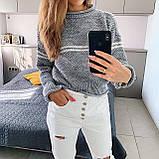 Женский вязаный свитер соты с отворотами на манжетах и горловине (р. 42-46) 404998, фото 3