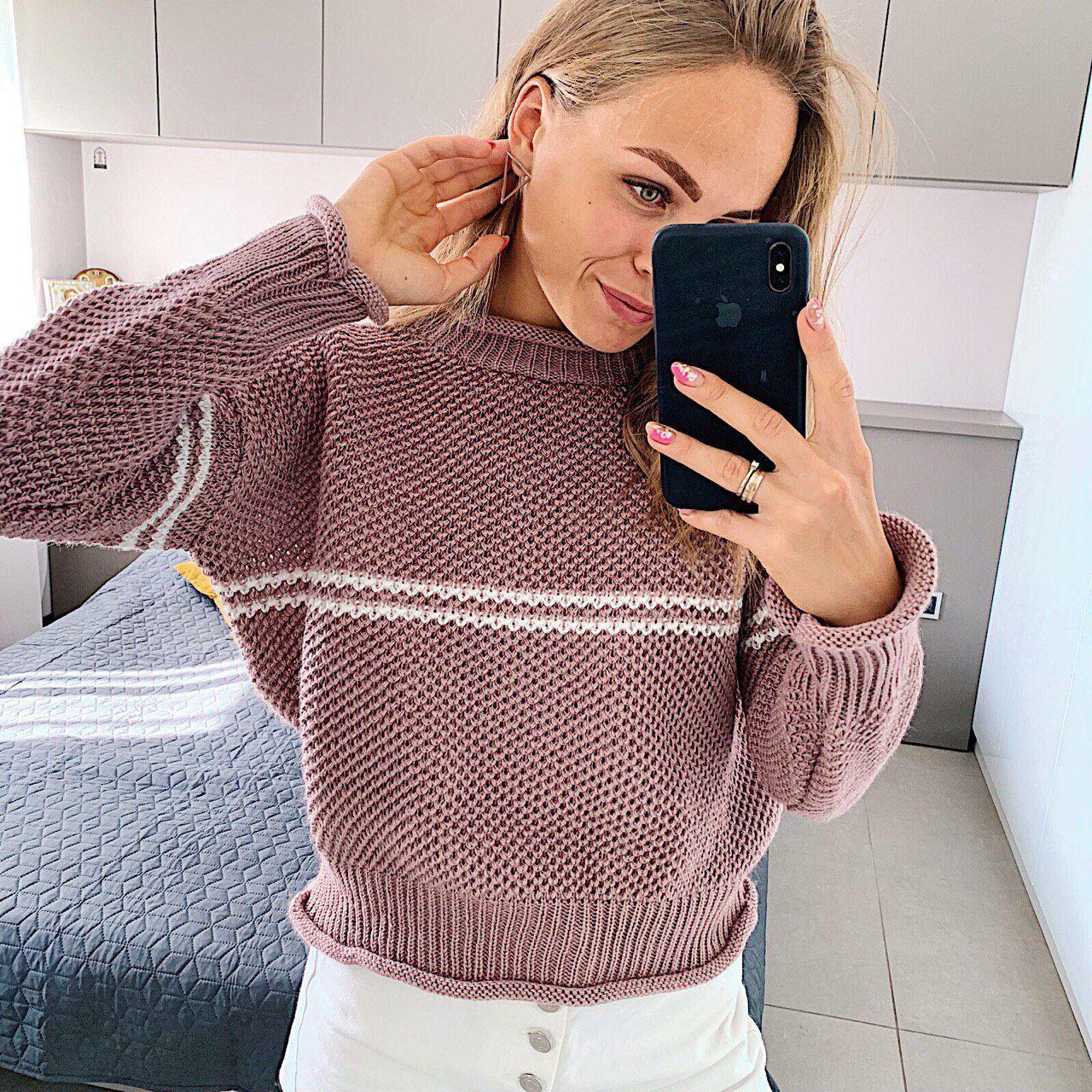 Женский вязаный свитер соты с отворотами на манжетах и горловине (р. 42-46) 404998