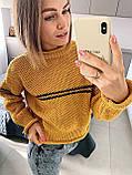 Женский вязаный свитер соты с отворотами на манжетах и горловине (р. 42-46) 404998, фото 5