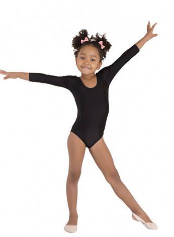 Боди купальник трико  гимнастический для танцев черный , балета, фото 2