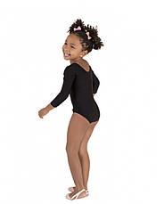 Боди купальник трико  гимнастический для танцев черный , балета, фото 3