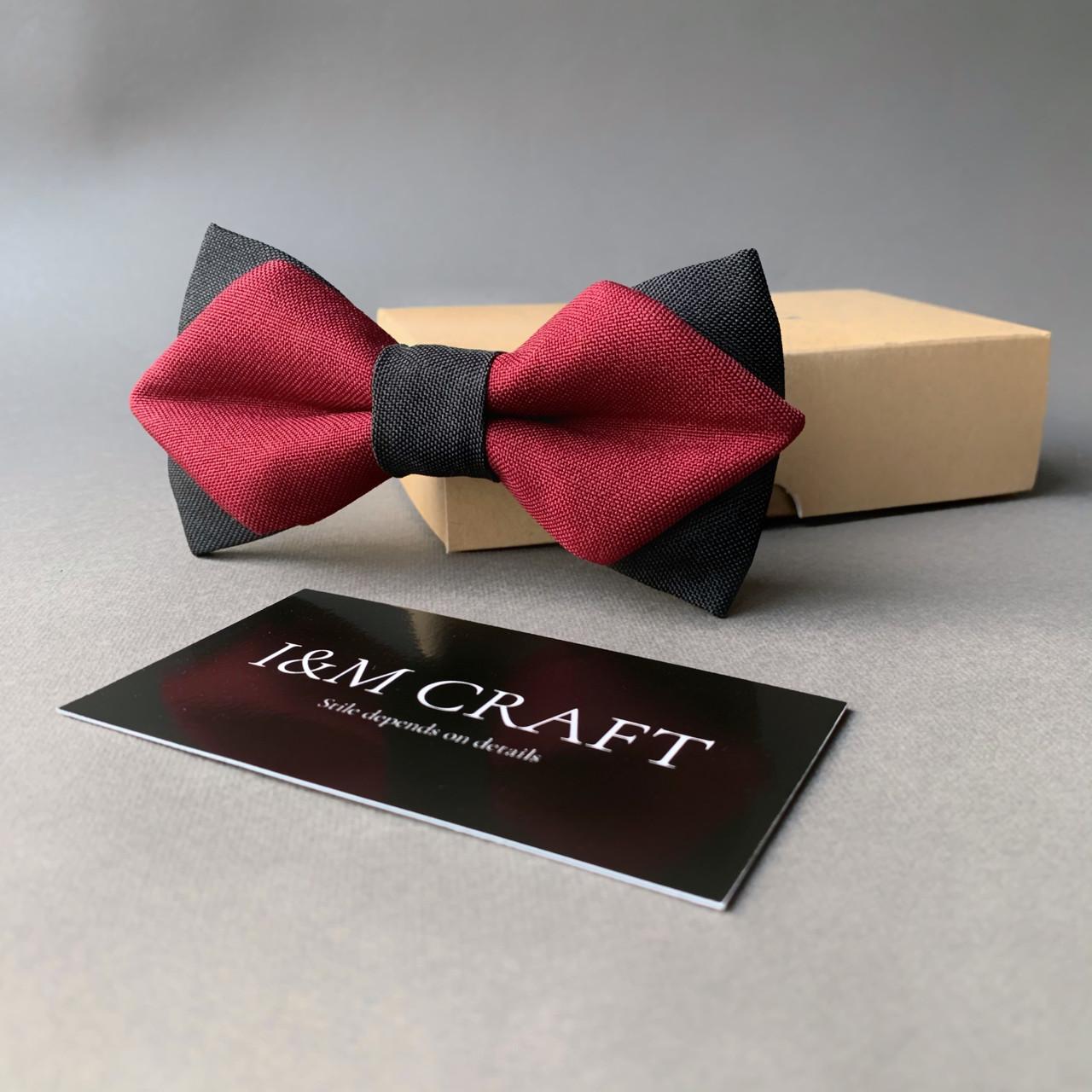 Галстук-бабочка I&M Craft с острыми уголками бордовая с черным (100113N)