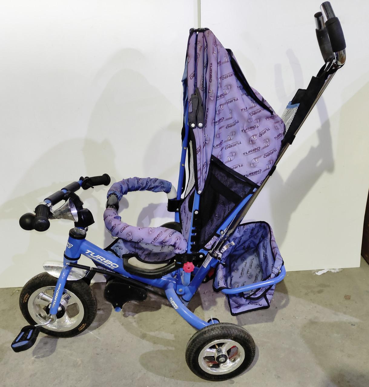 Б/У Велосипед трехколесный с родительской ручкой Turbo Trike синий. Одно колесо пробито
