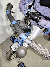 Б/У Велосипед трехколесный с родительской ручкой Turbo Trike синий. Одно колесо пробито, фото 3
