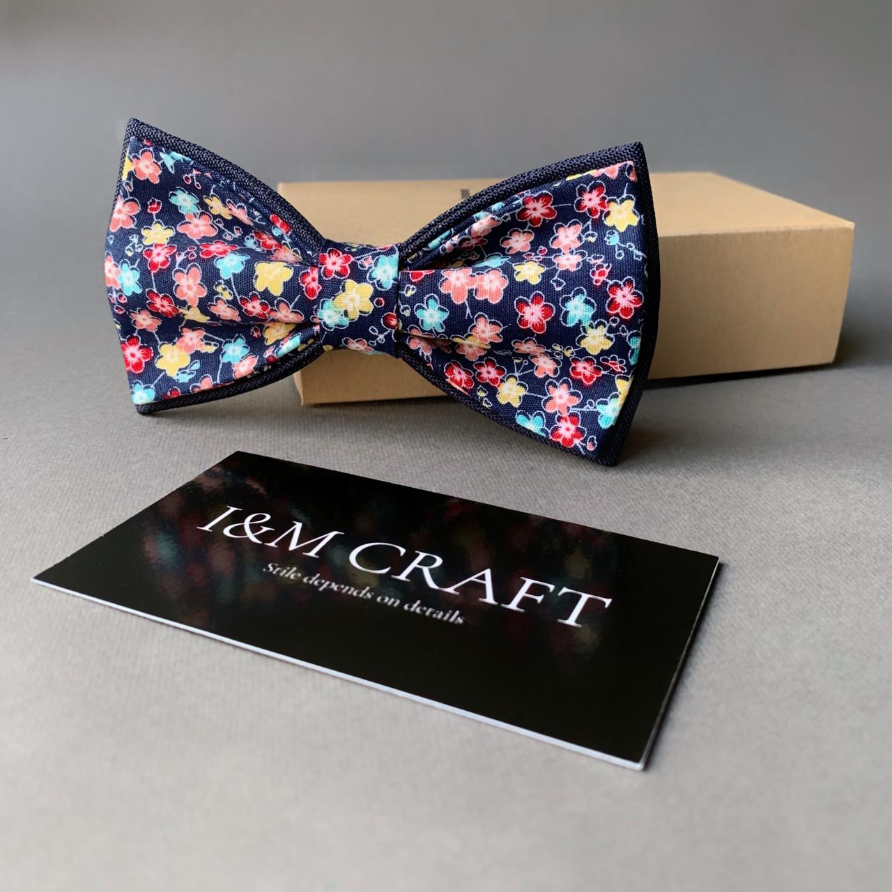 Галстук-бабочка I&M Craft черный с цветным принтом (010273)
