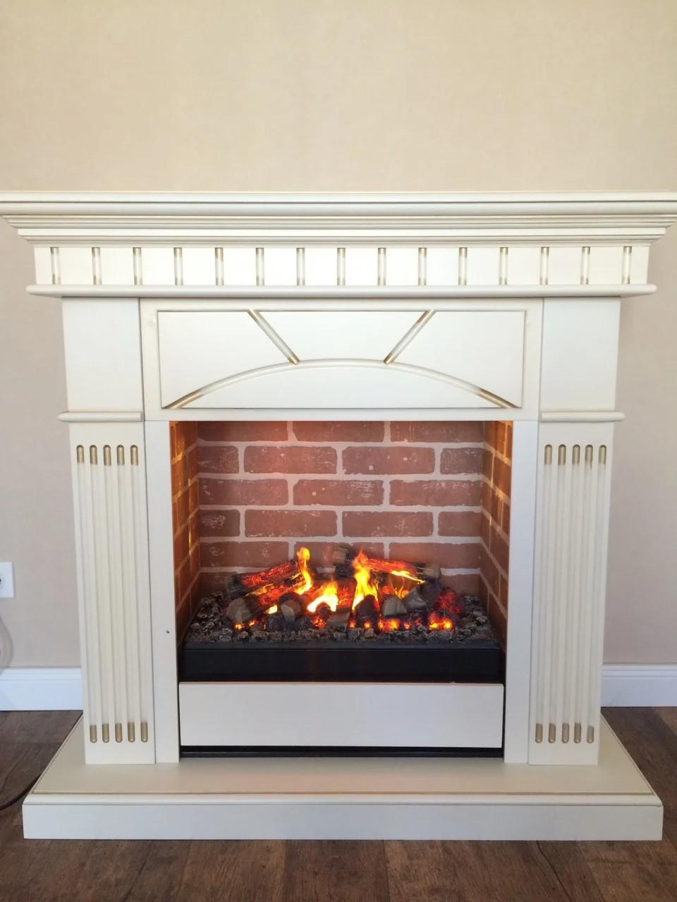 Электрокамин с порталом в современном стиле из МДФ Fireplace Исландия эффектом сгорания дров и пламени