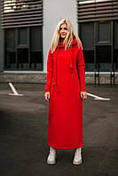 Теплое длинное платье на флисе в красном цвете