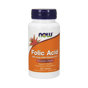 Фолієва кислота Now Foods Folic Acid 800 mсg (250 таб) нау фудс