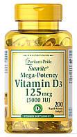 Витамин Д3 Puritan's Pride Vitamin D3 250mcg 10000 IU Mega-Potency (200 капс) пуритан прайд