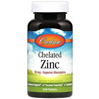 Цинк хелат Carlson Labs Chelated Zinc 30 mg (250 таб) карлсон лабс