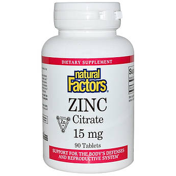 Цитрат Цинка, Zinc Citrate, Natural Factors, 15 мг, 90 Таблеток
