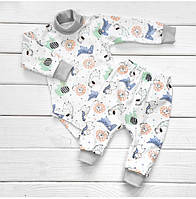 Комплект для новорожденного теплый боди, ползунки. Футер с начесом. Размер 26. Рост 80 см.(9-12 месяцев)