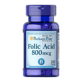 Фолієва кислота Puritan's Pride Folic Acid 800 mcg (250 таб) пурітанс прайд