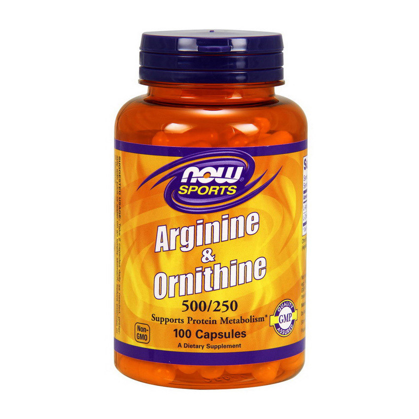 Комплекс аминокислот Now Foods Arginine & Ornithine (100 капс) нау фудс