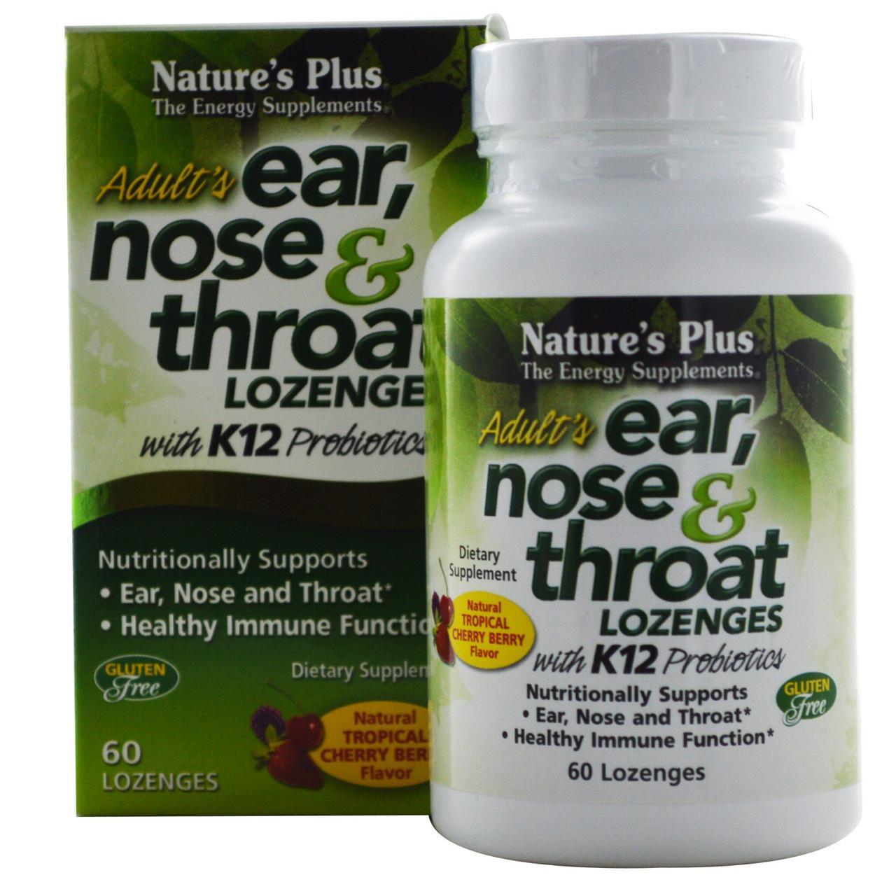 Комплекс Ухо, Горло, Нос с Пробиотиком К12, Вкус Тропических Ягод и Вишни, Natures Plus, 60 таблеток для