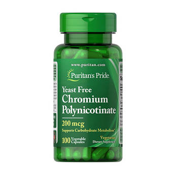 Хром пиколинат Puritan's Pride Chromium Polynicotinate 200 mcg Yeast Free (100 veg caps) пуританс прайд
