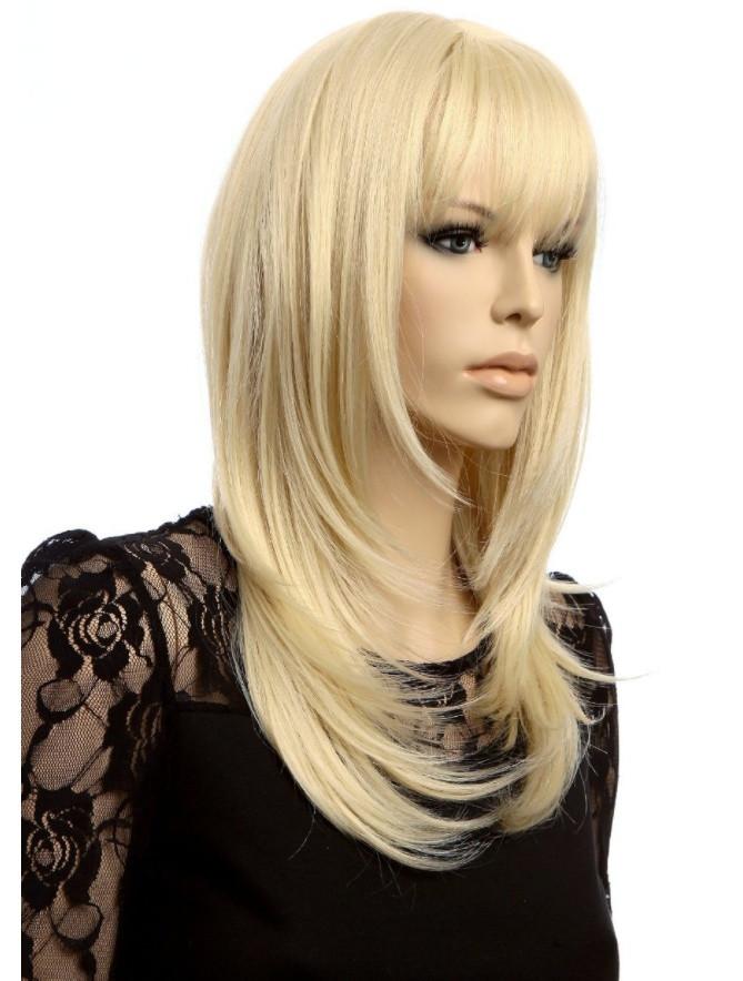 Парик средней длинны с чёлкой 50 см. блонд