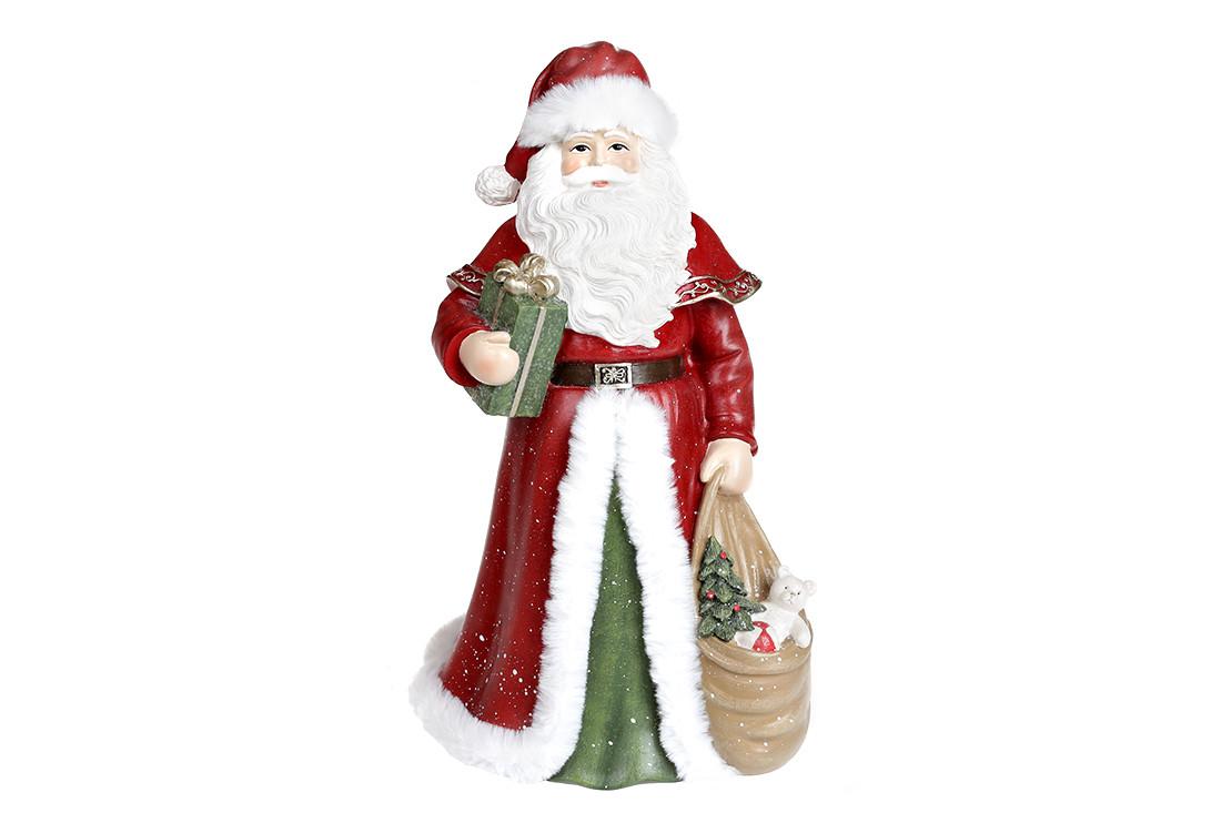 Новогодняя Статуэтка Санта, 31см, цвет - красный с зелёным