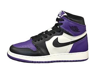 Женские кроссовки Nike Air Jordan 1 Retro (бело-фиолетовые с черным) 12405