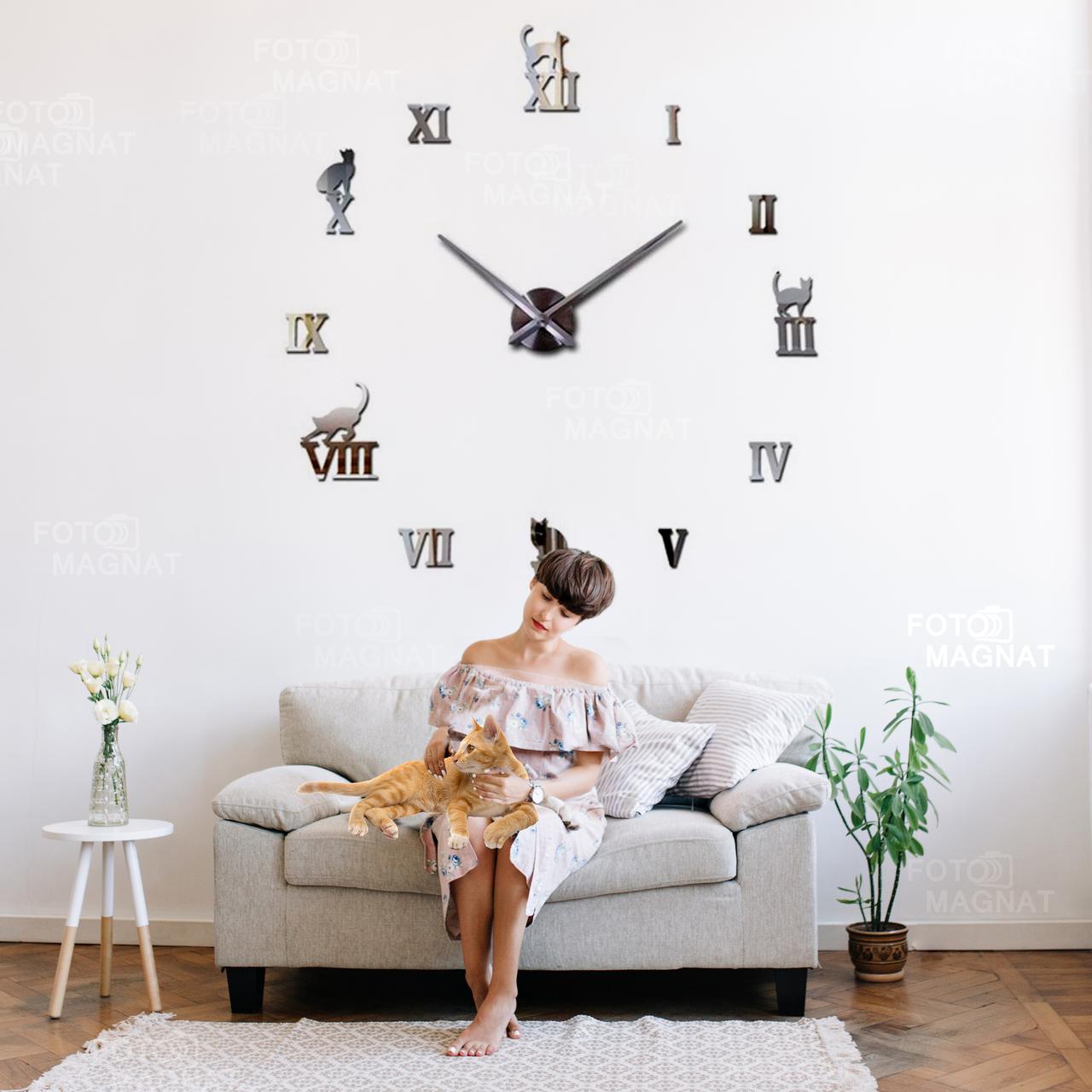 """Настенные часы 3D Большие """"Cats"""" - часы наклейка с зеркальным эффектом, необычные настенные часы стикеры"""