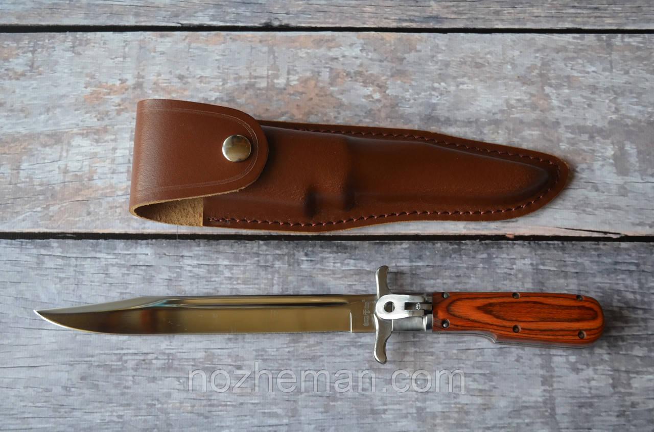 Складной штык нож, с кожаным чехлом в комплекте, отличный подарок коллекционеру необычных ножей