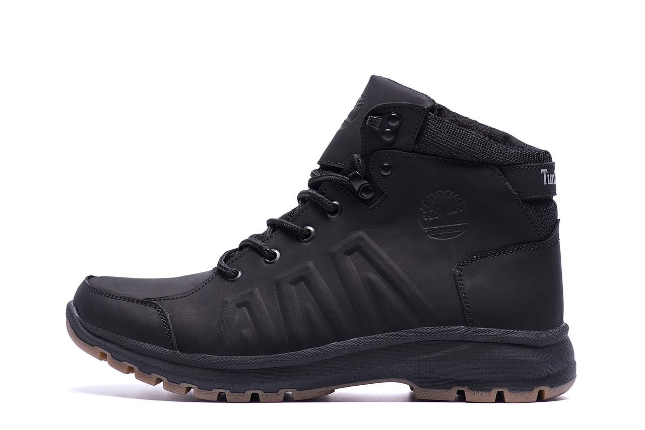 Чоловічі зимові шкіряні черевики Timberland Black leather р. 43 44