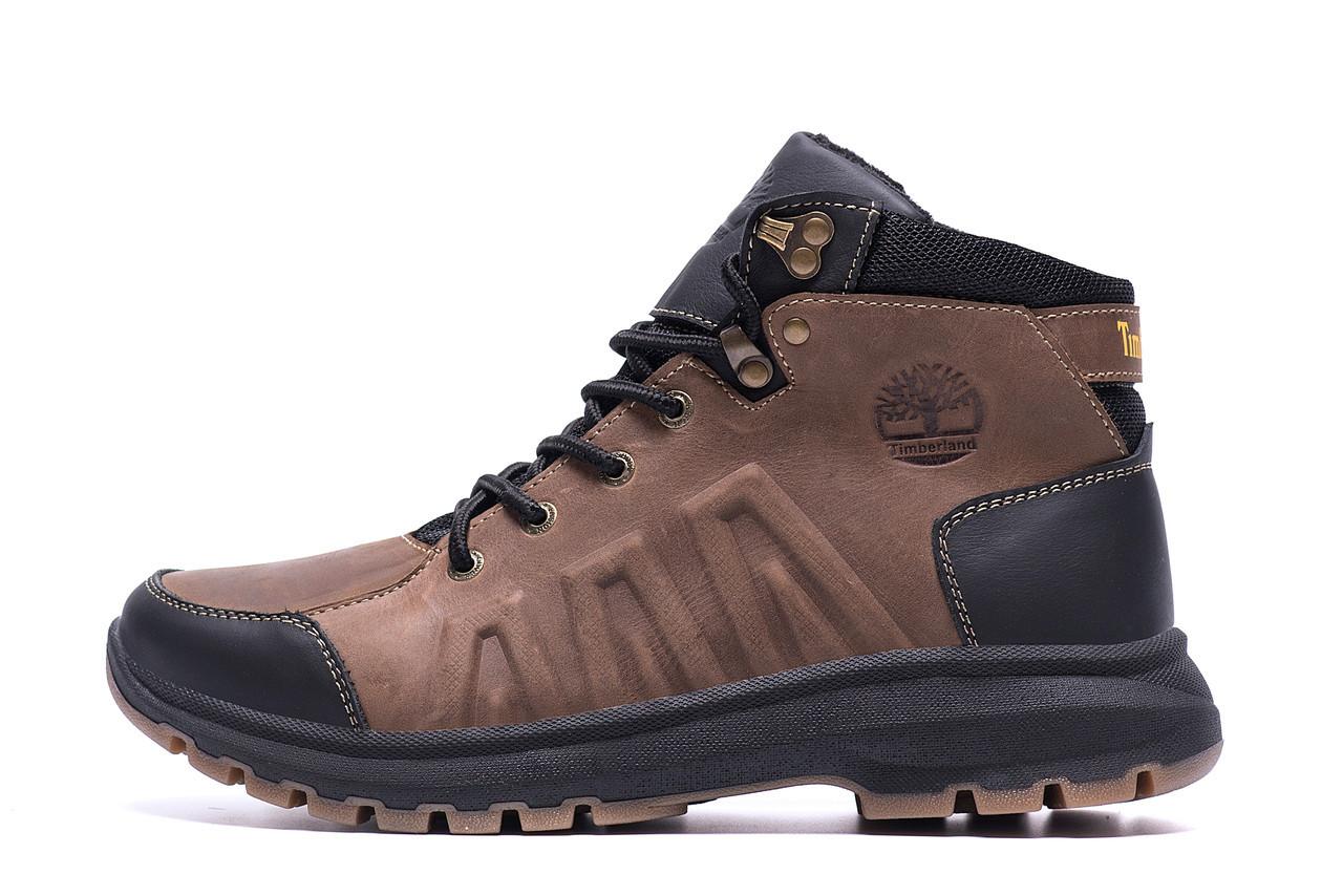 Чоловічі зимові шкіряні черевики Timberland Brown leather р. 40 41 44 45