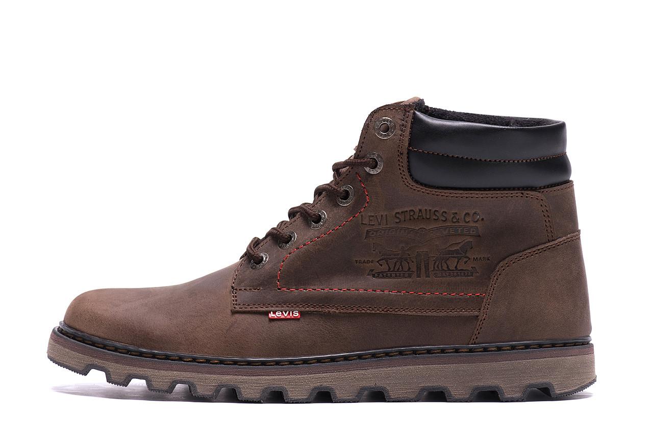 Чоловічі зимові шкіряні черевики Levis Expensive Chocolate р. 40 41 42 44 45