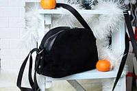 Натуральная замшевая женская сумка Lucherino 629 Сумка черной замши (LRHN)
