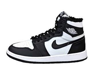 Женские зимние кроссовки Nike Air Jordan 1 Retro Winter (бело-черные) 12407