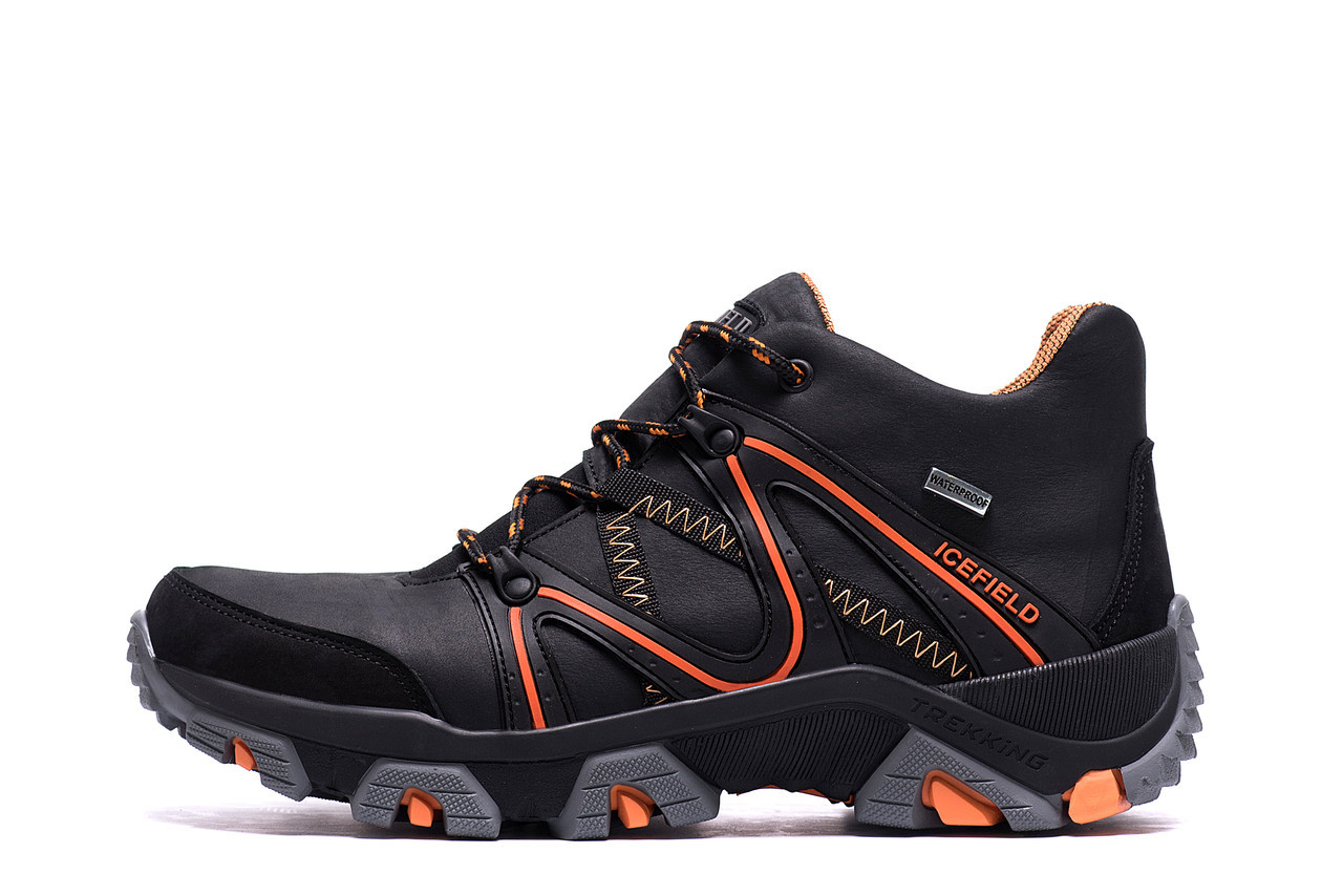 Чоловічі зимові шкіряні черевики IceField Gore-Tex Black р. 40 41 42 43 44