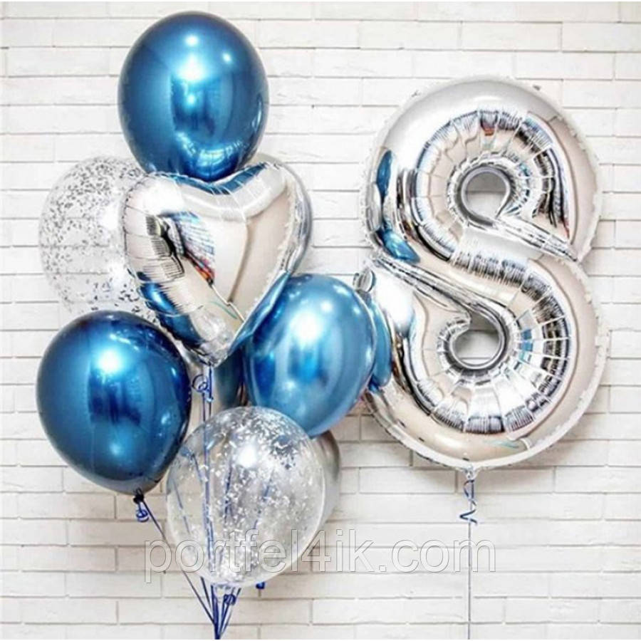 Фонтан из шаров гелиевых для мальчика на День рождения. 8 лет