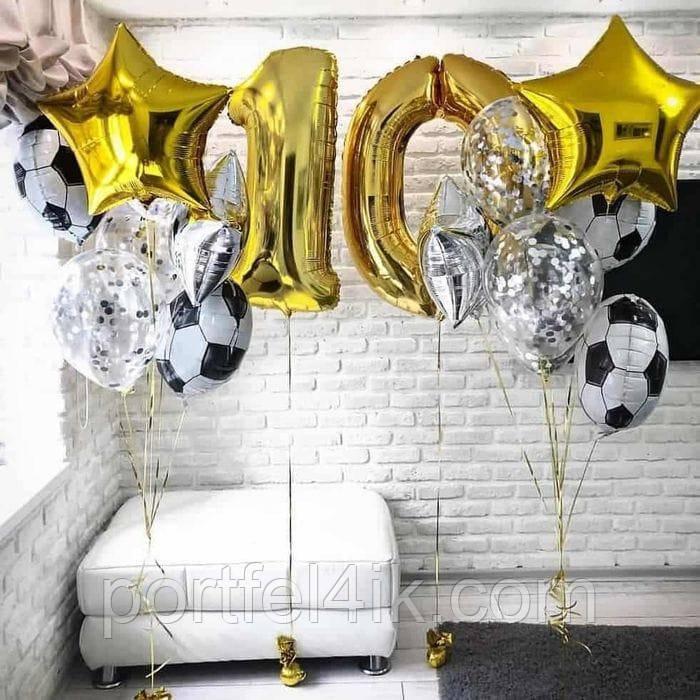 Фонтан из шаров гелиевых для мальчика. на День рождения. 10 лет