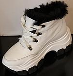 Белые ботинки женские зимние из кожи от производителя модель УН521, фото 2
