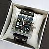 Брутальные мужские наручные часы Diesel прямоугольной формы, серебристые на ремешке - код 1788