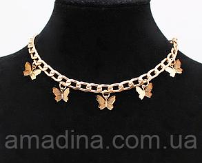 Женская цепочка с бабочками, металлический чокер золотой с подвеской бабочка