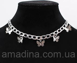 Женская цепочка с бабочками, металлическое колье серебряное с подвеской бабочка