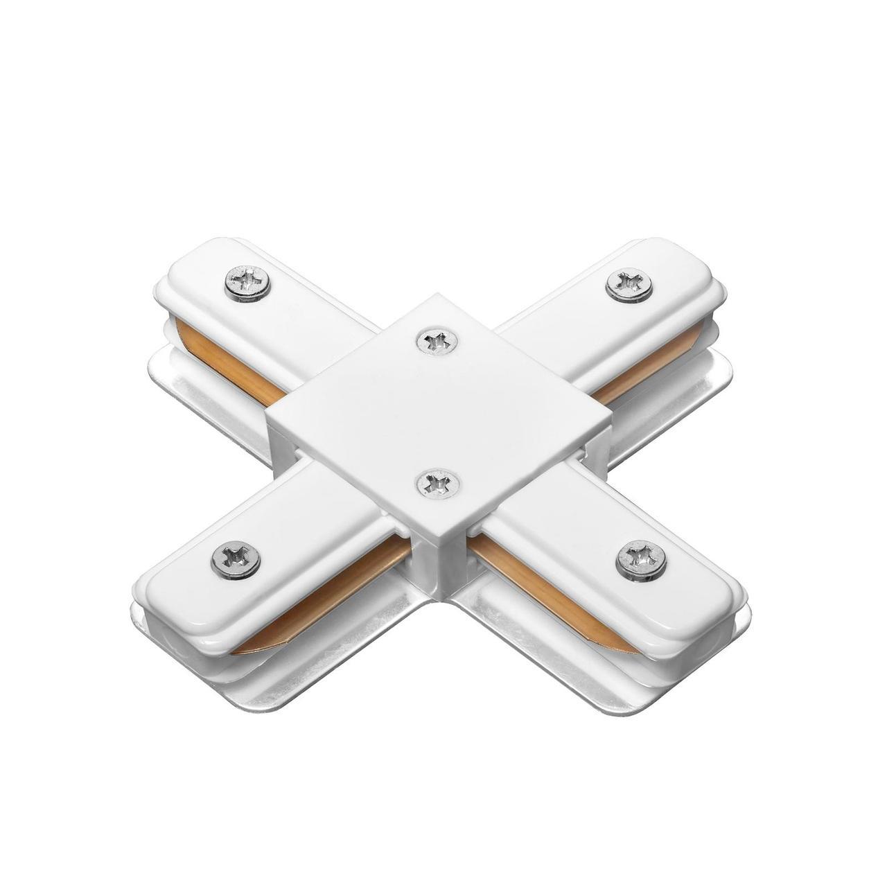 DELUX 2XC X-образный коннектор шинопровод  1-фазный белый