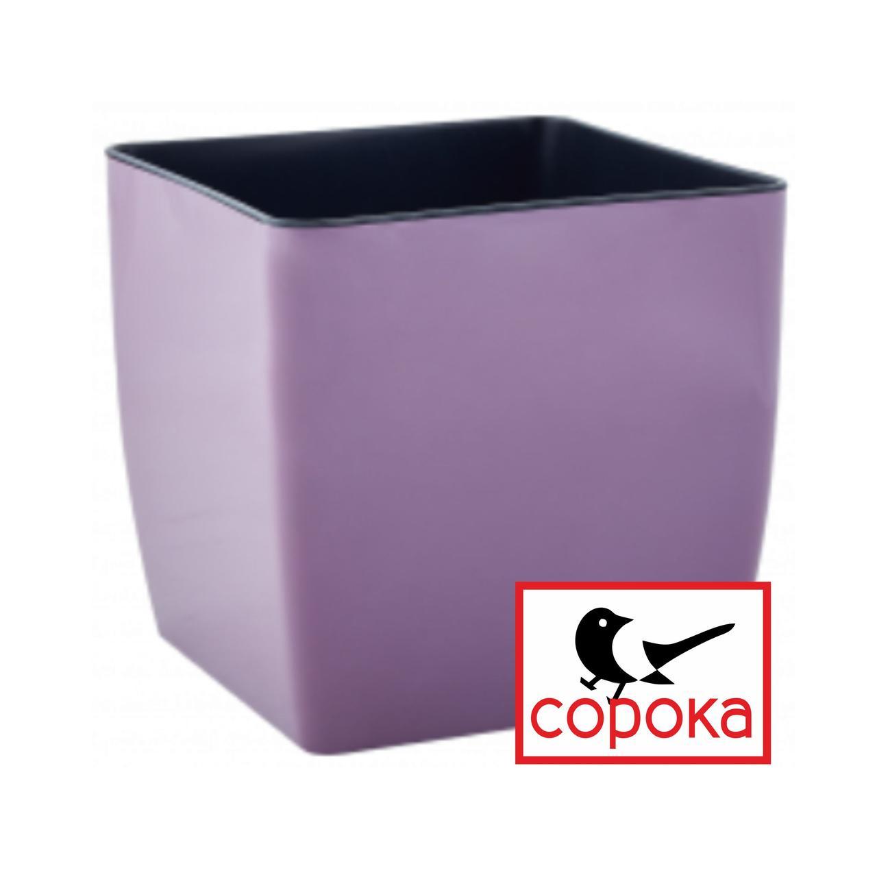 Горшок для цветов Алеана Квадро 22*22см фиолетовый 8л (Горшок для растений пластиковый Алеана Квадро 8л)