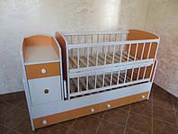 Детская кровать трансформер оранжевый с белым